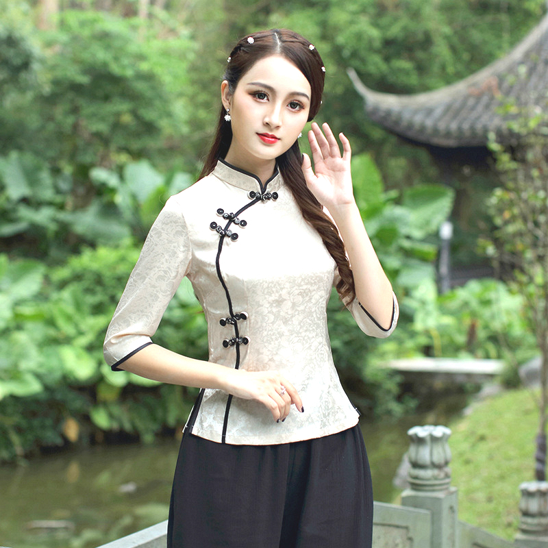 Traditional Chinese Clothing For Women Oblique Buckle Style Shirt Oriental Jacquard Cotton Cinese Qipao Blouse Haut Chinois 3XL
