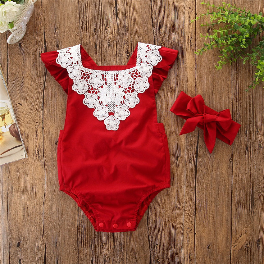 2019 2PC First Birthday / Christmas Outfit Twins Baby Toddler Clothing Clothing Bodysuit + Headband Girl Newborn Jumpsuit