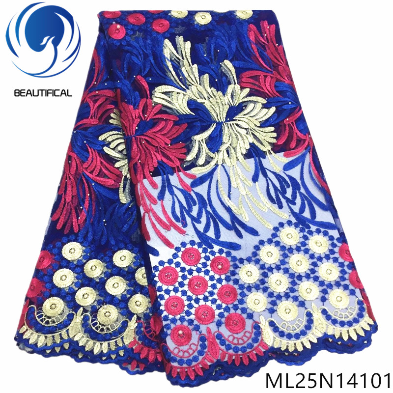 BEAUTIFICAL african french embroidery tulle lace 5 yards women dresses polyester net laces ML25N141BEAUTIFICAL african french embroidery tulle lace 5 yards women dresses polyester net laces ML25N141