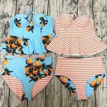 Women Print Orange Pattern And Striped Two Styles Swimsuit Ruffle Side Piece Swimwear Female High Waist Bikini Bathing Suits