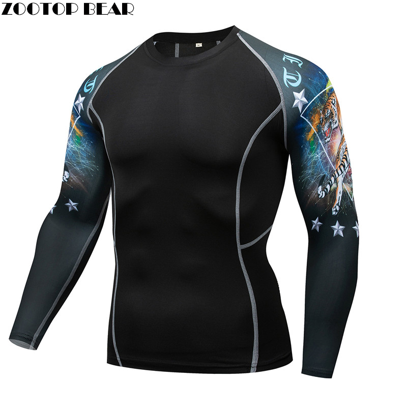 Crazy Tiger Mma Compression Shirt Men Quick Dry Elastic Base Layer Skin Tight Weight Lifting Crossfit Top Tee Rash Guard Fitness
