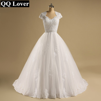 QQ Lover Custom Made Vestido De Noiva  A-Line See Through Back Sexy Wedding Dresses With Train Bridal Gown