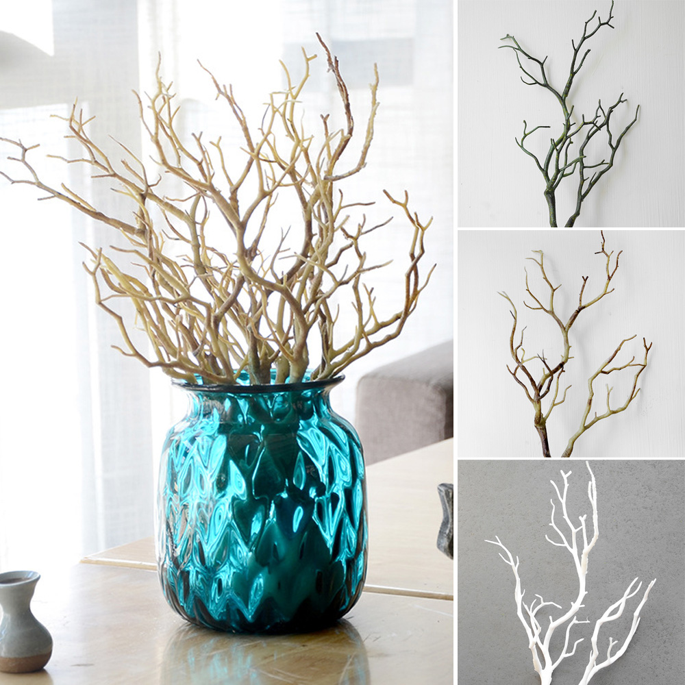 Dry artificial fake foliage plant tree branch wedding home church office furniture decoration peacock coral branches 35cm length in artificial dried