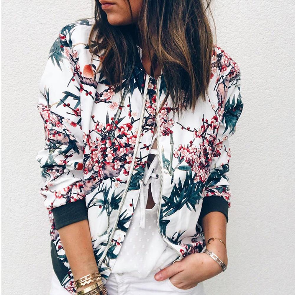 Women Floral Leopard Butterfly Bomber Jacket Ladies Long Sleeve Zip Up Coat
