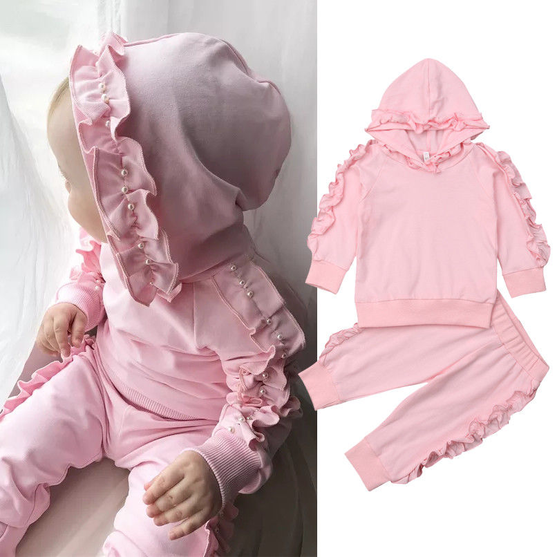 New Arrivels 0-3Year Kids Baby Girls Hooded Clothes Floral Ruffle Tops Pants Outfits Sets