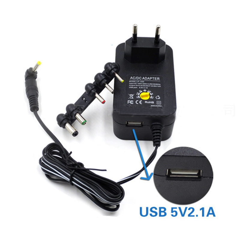 30W Multifunction Adjustable 3V <font><b>4.5V</b></font> 5V 6V 7.5V 9V 12V AC <font><b>DC</b></font> Power <font><b>Adapter</b></font> Universal Charger Supply for LED Light Strip Lamp image