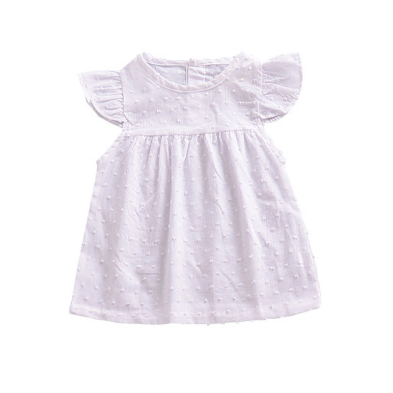 Girls White Polka Dot Cotton Dress