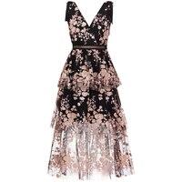 2019 Summer Sleeveless Mesh Dress Runway Women Sexy Deep V Neck Embroidery Floral Long Dress Vestidos robe femme