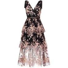 Vestido de malha sem mangas para verão, robe feminino sensual com decote em v, bordado, floral, longo, robe, 2019Vestidos