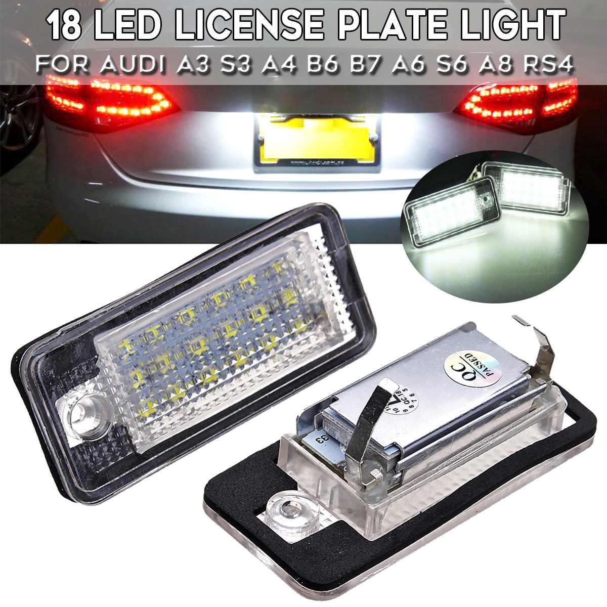 2pcs License Number Plate Light 18LED Error Free For Audi A3 S3 A4 B6 B7 A6 S6 A8 RS4  8E0807430A 8E0807430B 8E0943021B 8E0943022pcs License Number Plate Light 18LED Error Free For Audi A3 S3 A4 B6 B7 A6 S6 A8 RS4  8E0807430A 8E0807430B 8E0943021B 8E094302