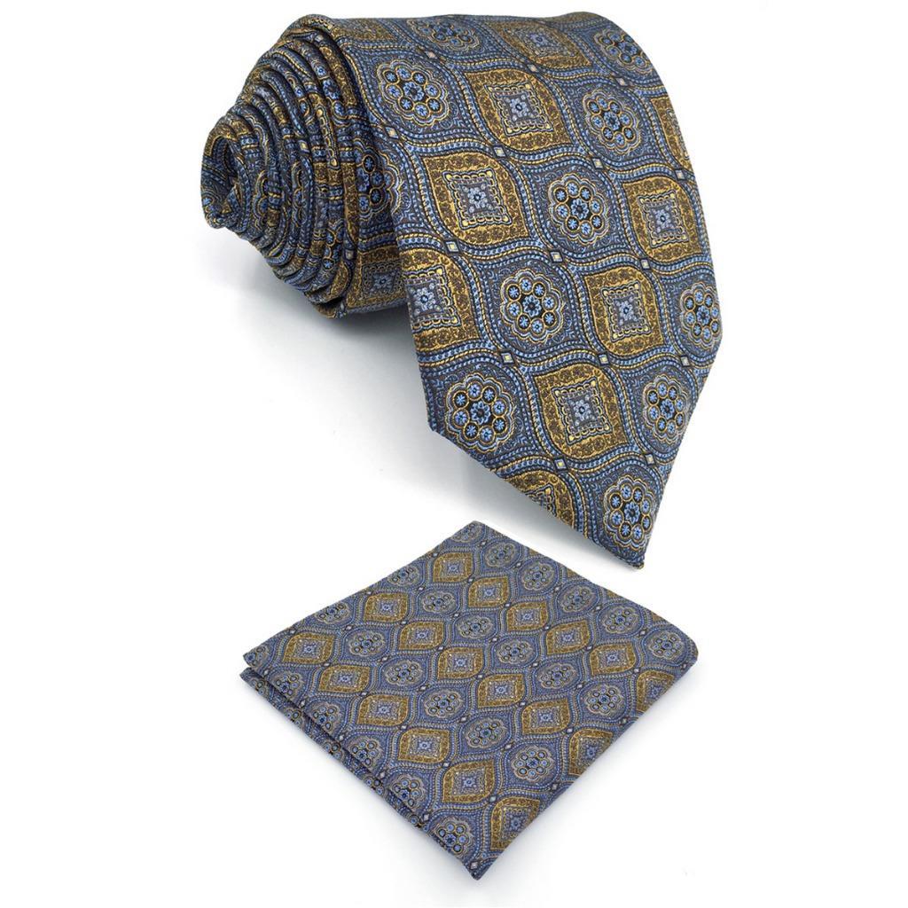 Multicolor Geometric Silk Mens Necktie Set Fashion Novelty Dress Xlong Pocket Square