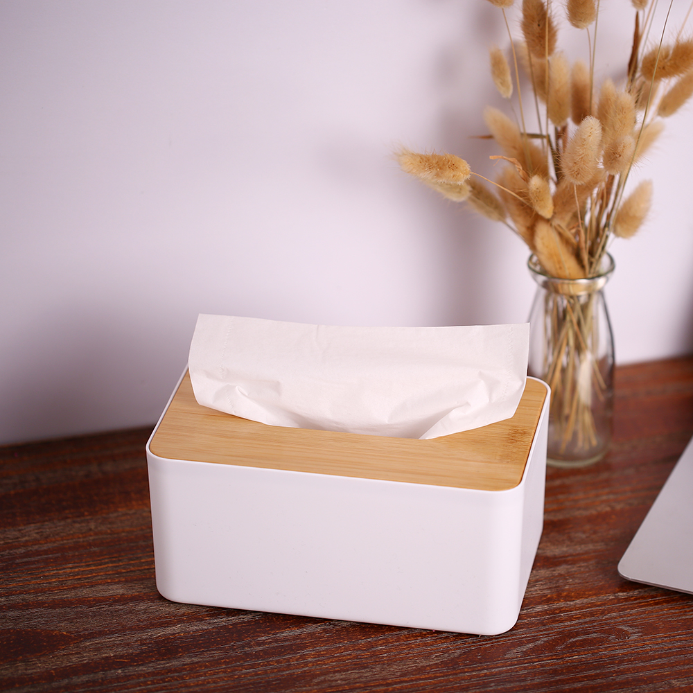 Bamboo Cover Napkin Holder Square Round Plastic Tissue Box