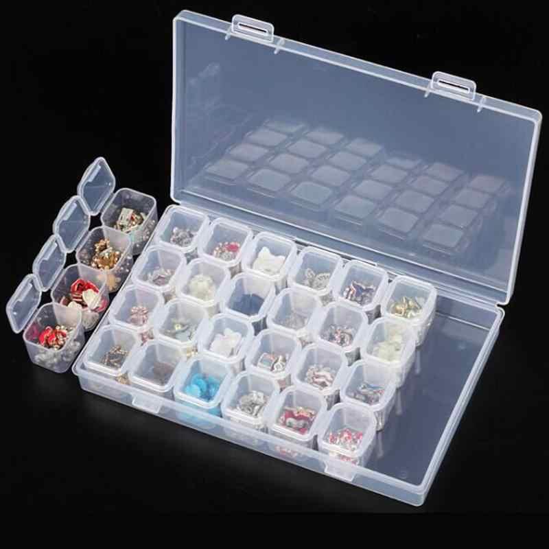 واضح الحمام حقيبة للتخزين للإزالة حجر الراين مسمار أدوات الرسم مجوهرات عرض صندوق تخزين منظم حلقة الخرز حامل 28 فتحات