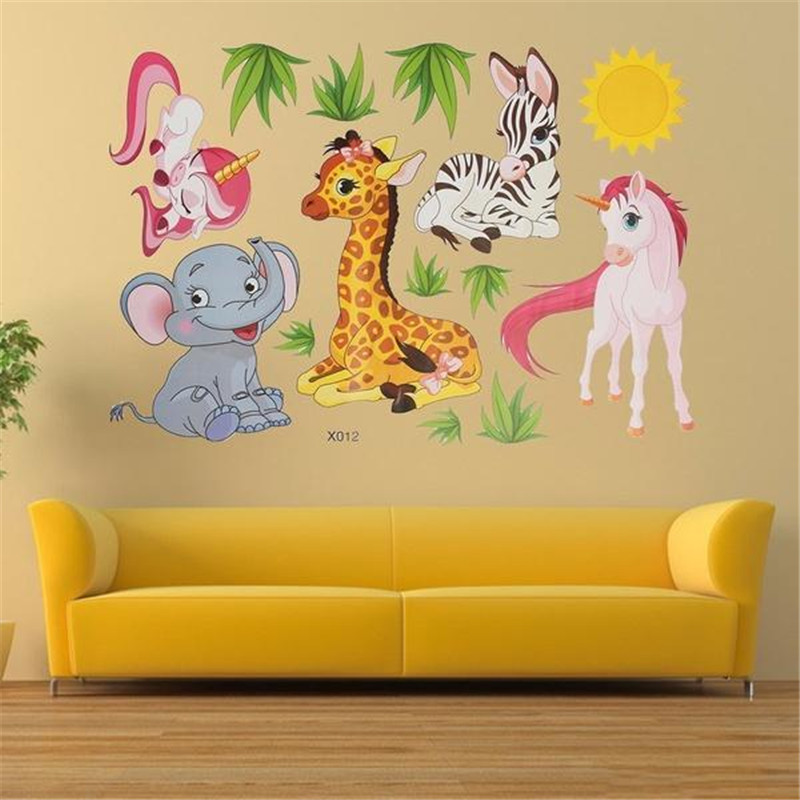 New Animals Wall Stickers for Kids Rooms Safari Nursery Rooms Baby Home Decoration Poster Elephant Giraffe Horse Wall Decals image