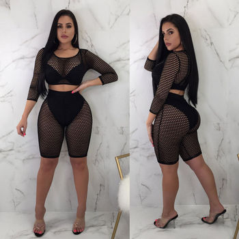 2-Piece Fishnet Crop & Bikers