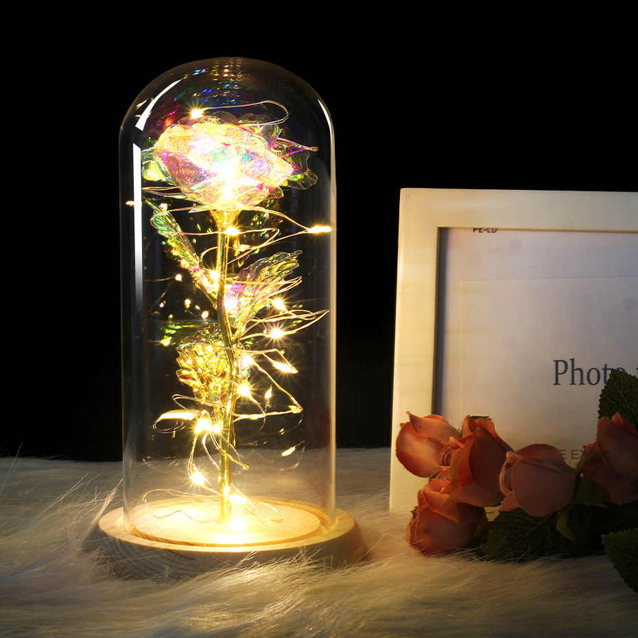 HOT Beauty And The Beast Platinum Red Golden Rose With LED Light In Glass Dome Black Base Mother's Day Gift Valentines Day Gift