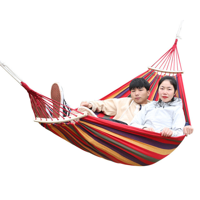 Hammock With Wood Stick Outdoor Indoor Canvas Patio Swing Picnic Furniture Camping Beach Folding Hanging Chair Garden Set