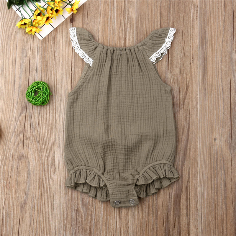 Newborn 5 Color Solid Bodysuits New Hot Brand Cute Baby Girls Clothes Kid Ruffle Bodysuit One-Pieces Summer Clothes Outfits