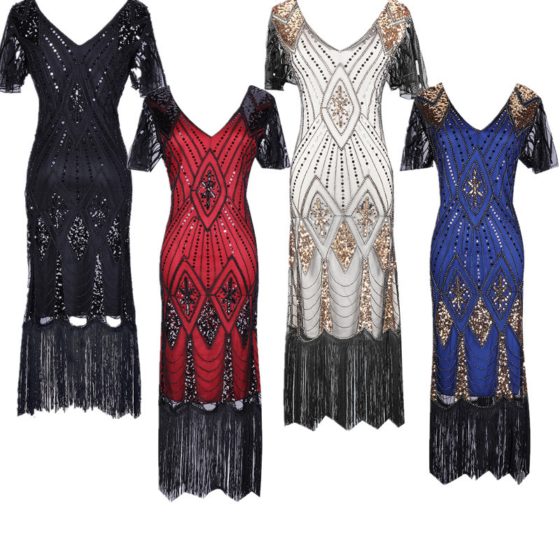 2019 Women Party Dress Robe Femme 1920s Great Gatsby Flapper Sequin Fringe Midi Dress Vestido Summer Art Deco Retro Black Dress