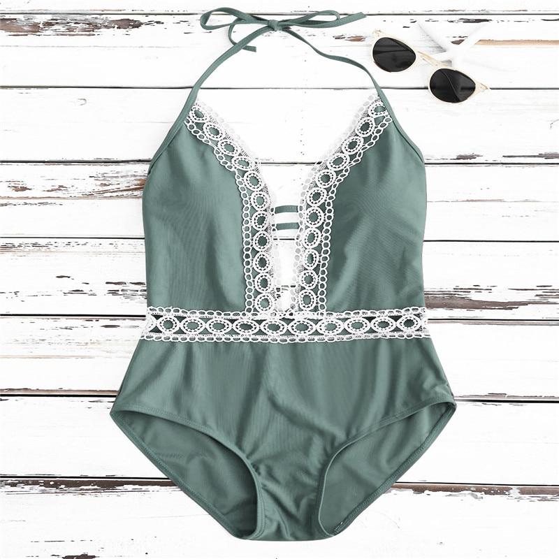 Solid One-Piece Swimsuit Women Backless Deep V Neck Lace Push Up Sexy Bodysuits 2019 Lady Beach Bathing Suit Swimwear Monokini 4