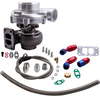 T70 0.7 A/R Compressor Oil Cooled Turbo charger Oil Feed/in Oil Return Line Kit T3 Flange .82 .70 A/R for 1.8L 3.0L Engine