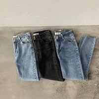 Mooirue Women Boyfriend Jeans High Waist Black Vintage Washed Korean Style Denim Pants