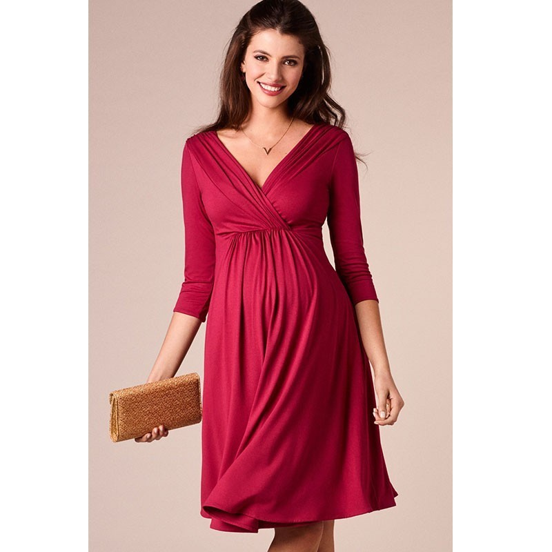 fe9adff4a6850 US $13.12 35% OFF|ENXI Christmas Pregnant Women Evening Party Dress Elegant  Summer Lady Dress Maternity Clothes Plus Size V Neck Maternity Dresses-in  ...