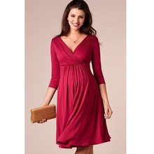 ENXI Christmas Pregnant Women Evening Party Dress Elegant Summer Lady Maternity Clothes Plus Size V-Neck Dresses