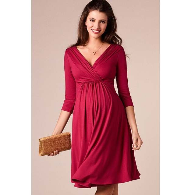 b2ad5d3338f9f placeholder ENXI Christmas Pregnant Women Evening Party Dress Elegant  Summer Lady Dress Maternity Clothes Plus Size V