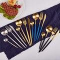 24 шт./компл. набор черных столовых приборов столовая посуда набор серебряных приборов столовый нож из нержавеющей стали и вилка оптовая про...