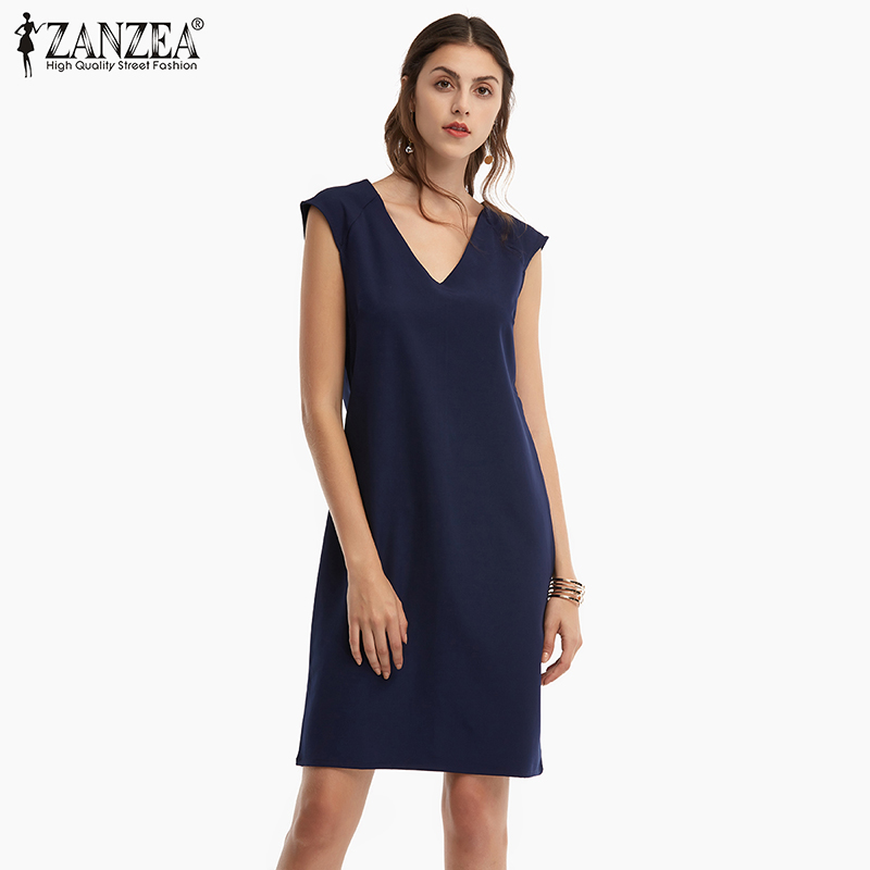 ZANZEA Sexy V-Neck Mini Dress Women Summer Sleeveless Solid Short Tank Dress 2019 Casual Party Bodycon Dress Plus Size S-5XL