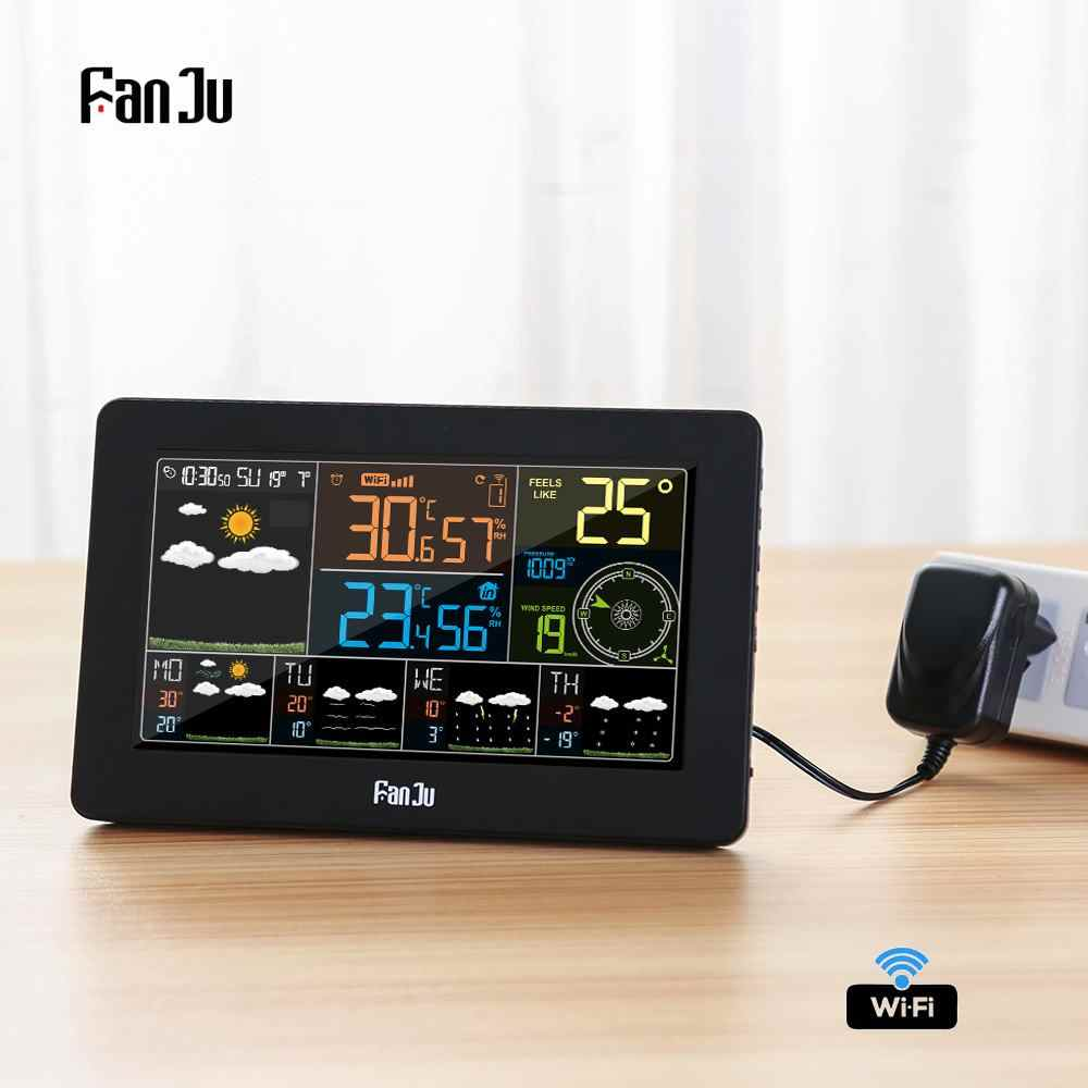 FanJu FJW4 Wifi Weather Station Wall Digital Alarm Clock Thermometer Hygrometer Future Weather Forecast Wind Direction Barometer