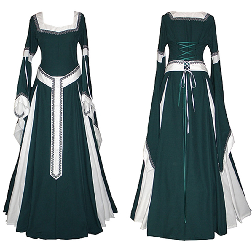 Classical Princess Vintage Uniform Medieval Costume Women Solid Cosplay Suit Palace Queen Clothing Party Wear Female Retro Dress