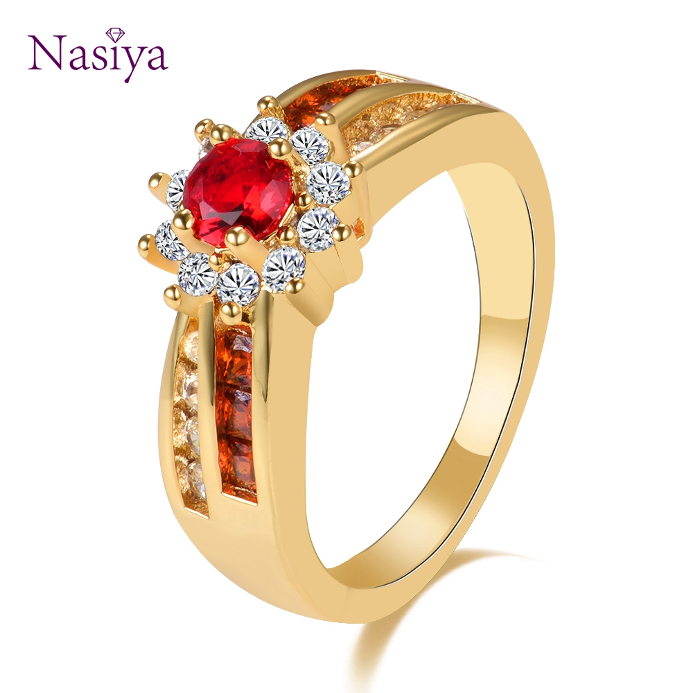 New Fashion Red Gemstone Rings Women's Rose Gold Color 925 Sterling Silver Jewelry Ring Wedding Anniversary Engagement Gifts