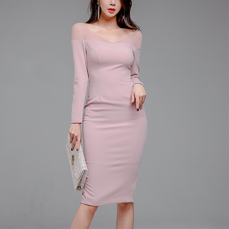2019 New Elegant Party Dress Long Sleeve Pink Sexy V-neck Hollow Out Slim Pencil Dress Bodycon Formal Dress Autumn Spring