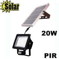 20 Вт Soloar PIR светодио дный прожектор на солнечных батареях лампа с движения детектив Сенсор настенный светильник наружного освещения ландша