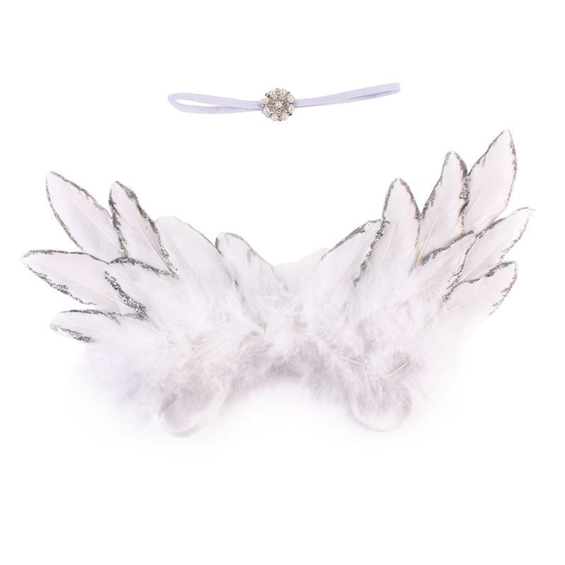Neugeborenen Baby Feder Engel Flügel Strass Stirnband Set Baby Chiffon Blume Stirnband Haar Zubehör