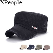 купить XPeople Fashionable Solid Color Unisex Fitted Army Military Cadet Cap Cadet Army Washed Cotton Basic Cap Military Style Hat дешево