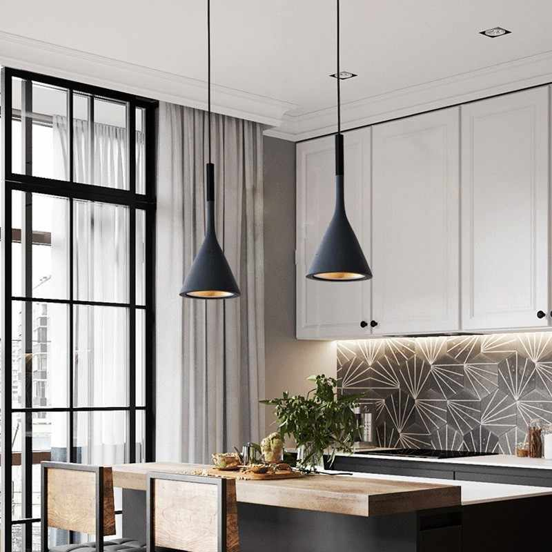 Modern Pendant Lights Kitchen Fixtures For Dining Room Restaurant Bars Home  Bedroom White Black Red Lighting Deco Hanging Lamp