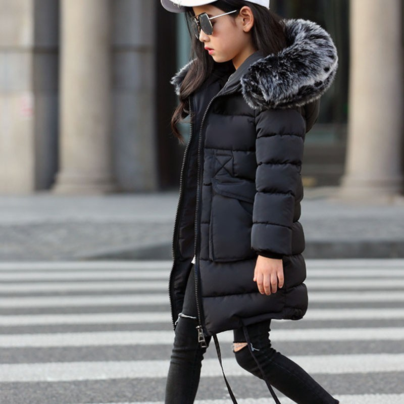 ed9494d6c Long Winter Coat For Girls Fur Hooded Black Pink Blue Cotton Padded ...