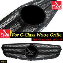 For Benz W204 Grille Gloss Black C-Class C180 C200 C250 C300 C63 Radiator Chrome Front Bumper without centre logo 2007-14