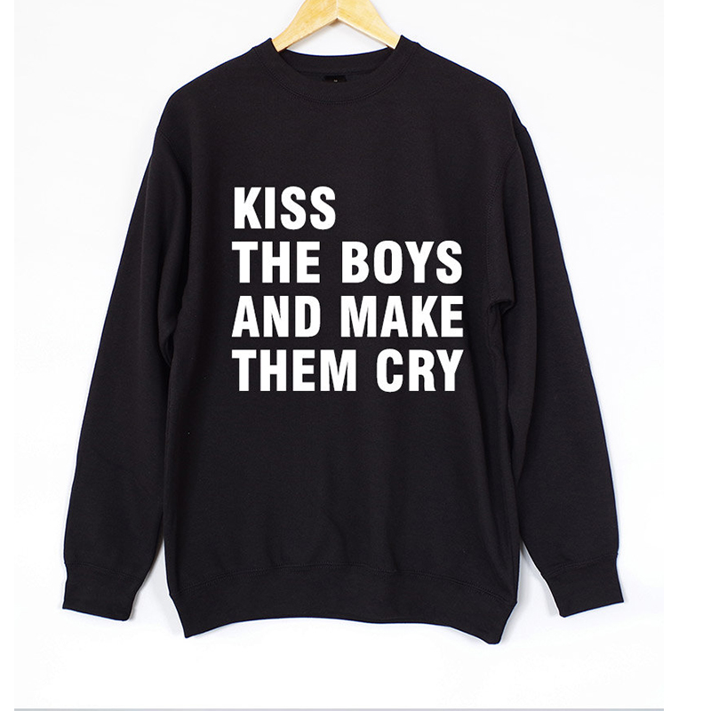 3b7707dfe37b Kiss The Boys and Make Them Cry Sweatshirts Women Top Tumblr Tops Fashion  Funny Text Slogan Dope Jumper Tee Graphic Pullovers-in T-Shirts from  Women s ...