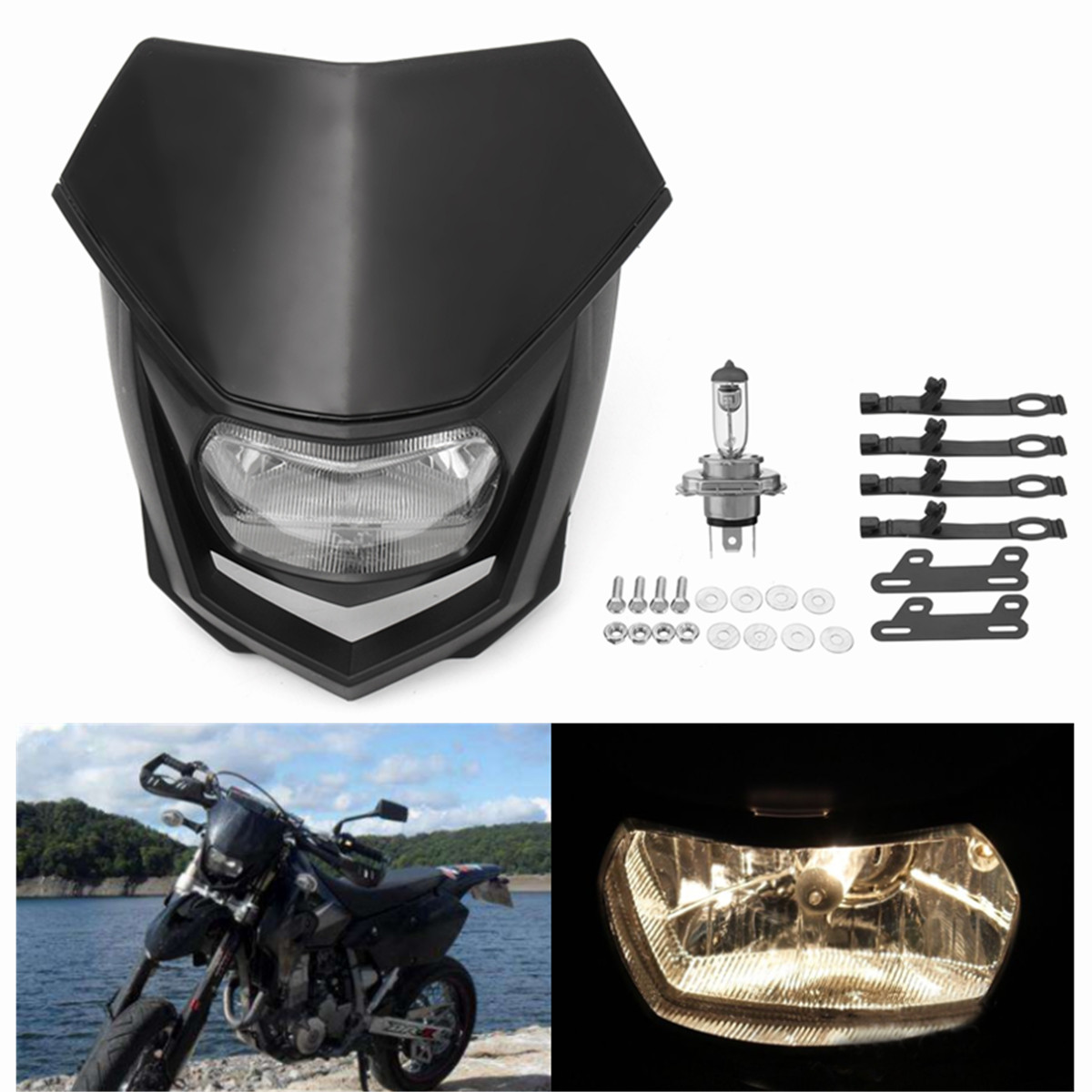 New 12V <font><b>Universal</b></font> Motorcycle <font><b>Dirt</b></font> <font><b>Bike</b></font> Halo <font><b>Headlight</b></font> Headlamp Dirtbike <font><b>Headlight</b></font> Enduro For KTM CRF XR WRF YZF DRZ KLX YM-004 image