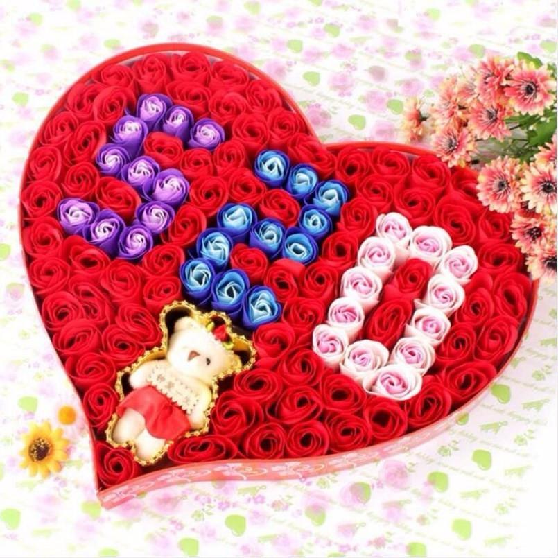 Nouveau 96 pcs Simulation Rose Fleur De Savon Boîte Cadeau du Jour de Valentine De Mariage Cadeaux Pour Les Clients Cadeaux Pour La Nouvelle année de Demoiselle D'honneur Cadeau