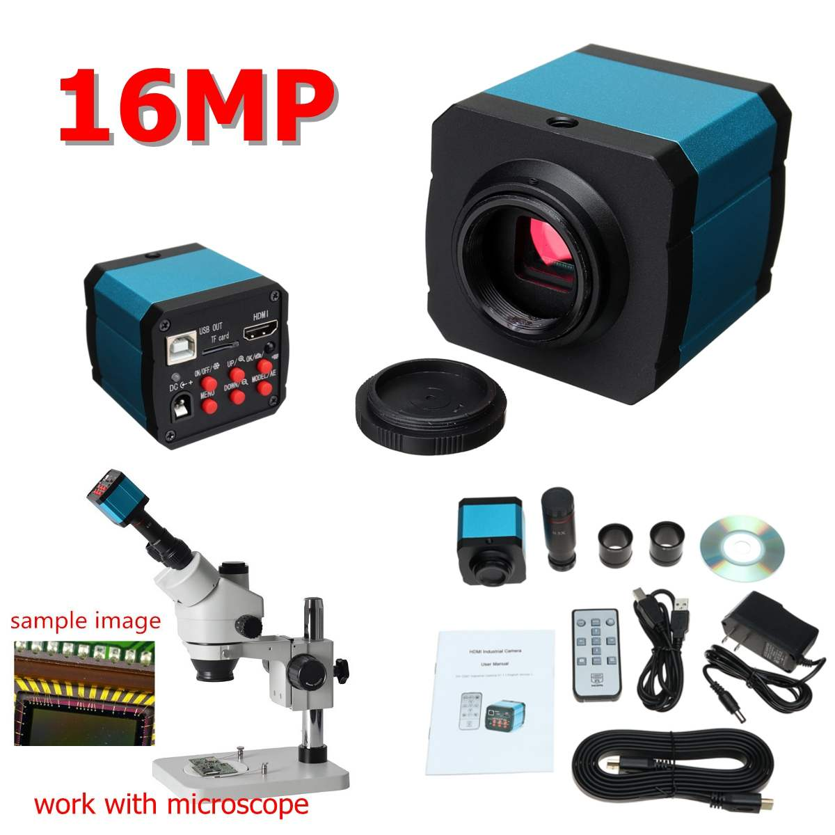 ZEAST 16MP 1080P 60FPS USB C-mount Digital Industry Video Microscope Camera with HDMI Cable