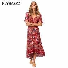 цена на Women Elegant Flower Printed Dress Sexy Flare Sleeve Bohemian Beach Dress for Women 2019 Summer Ruffle Irregular Long Dress Robe
