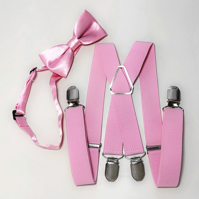 Light Pink Suspender Bow Tie Sets Kids Adjustable 4 Clips Braces Neck Tie Set Children Wedding Wear