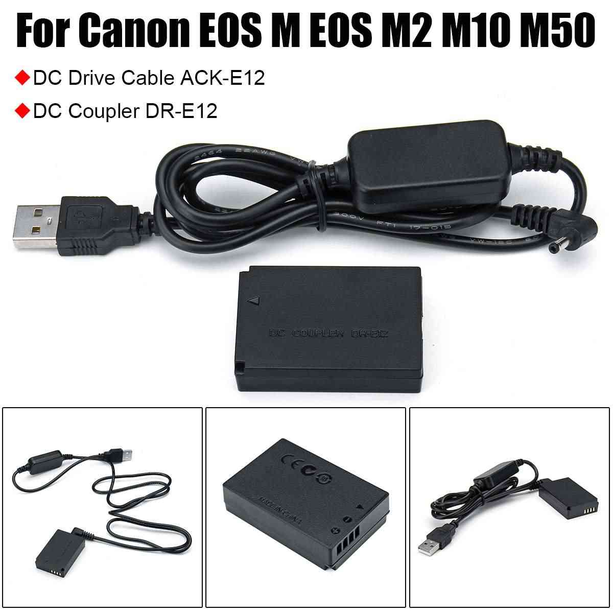 5 V كابل يو اس بي DC 8.4 V ACK-E12 المحمول قوة البنك + DR-E12 DC المقرنة LP-E12 الدمية بطارية لكاميرات كانون EOS M EOS m2 M10 M50 كاميرا