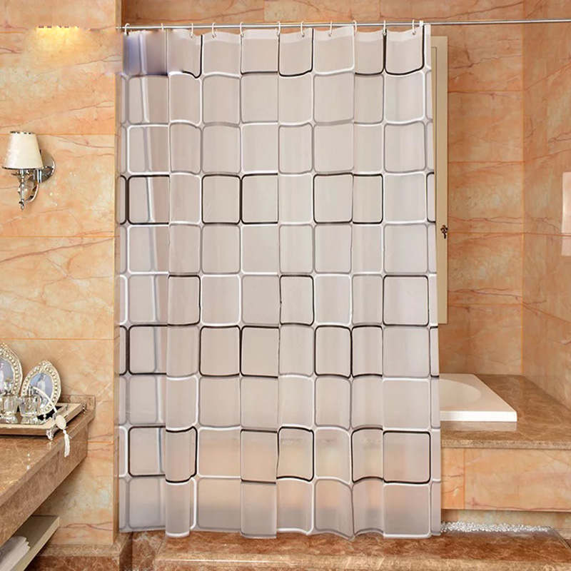 The bathroom shower curtain checkered PEVA Environmental toilet door curtain Shower curtains Waterproof and mould thickening