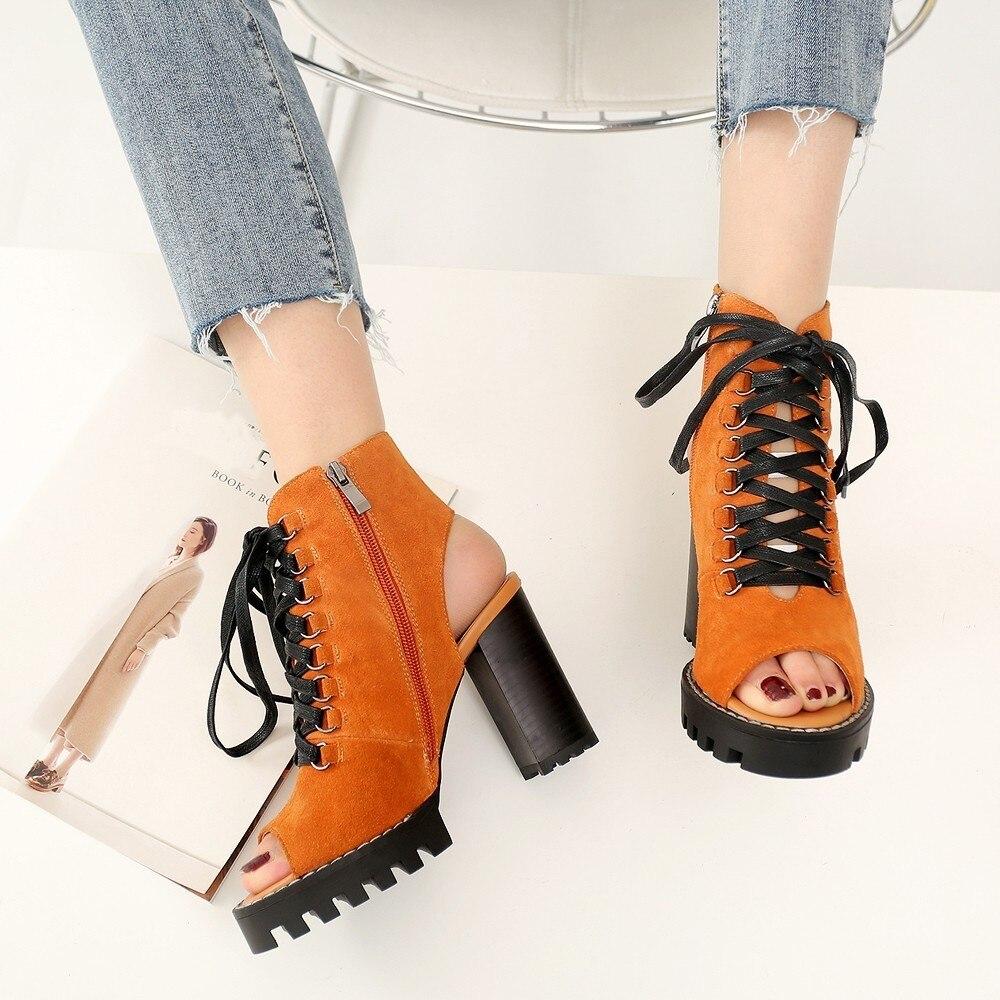 2019 nouvelles femmes bottes d'été chaussures couleur unie bottines d'été bottes pour dames véritable vache daim poisson bouche grande taille 35-41